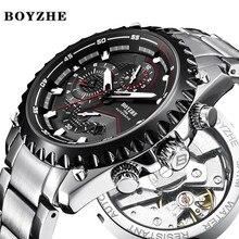BOYZHE 2018 Neue Manner Automatische Mechanische Uhr Wasserdicht Sport Luxus Marke Uhr Manner Edelstahl Uhren Relogio Masculino цена