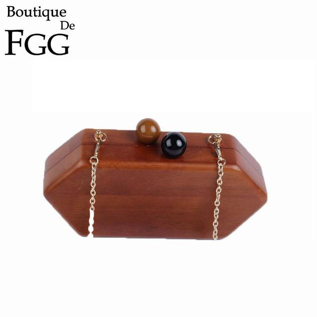 Women Hardcase Wooden Evening Box Clutch Handbags Metal Clutches Party Wedding Ladies Wood Chains Shoulder Bag Bolsas Femininas