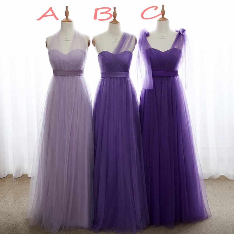 Sweetheart See Sheer Neck Organza Long Bridesmaid Gowns Lavender Purple  Soft Tulle Pleated Bridesmaid Dresses Fast Shipping 1f624a33dcc0