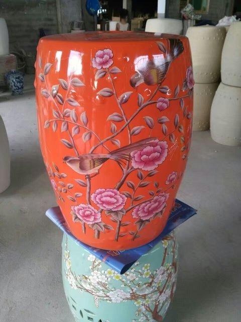 Orange Porcelain Stool Jindezhen Bathroom Dressing Ceramic Garden Stool  Chinese Ceramic Drum Stool Bathroom Ceramic