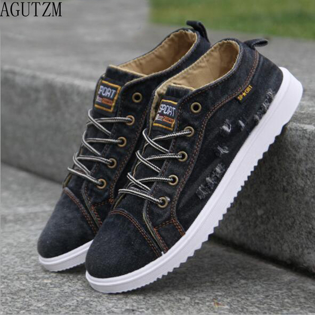 AGUTZM Canvas Men Shoes Denim Lace-Up Men Casual Shoes New 2018 Plimsolls Breathable Male Footwear Spring Autumn Q106