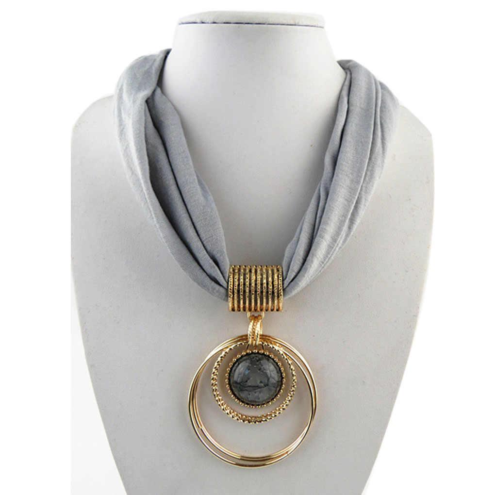 Pingente Liga Cachecol pingente Circular Collar Polyester Sólidos Cachecol Colar para as mulheres