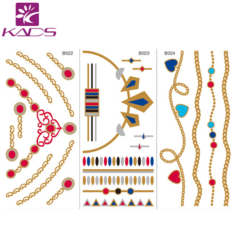 500PCS/LOT Body art chain gold temporary tattoo flash tattoo metallic new jewelry temporary tattoo stickers
