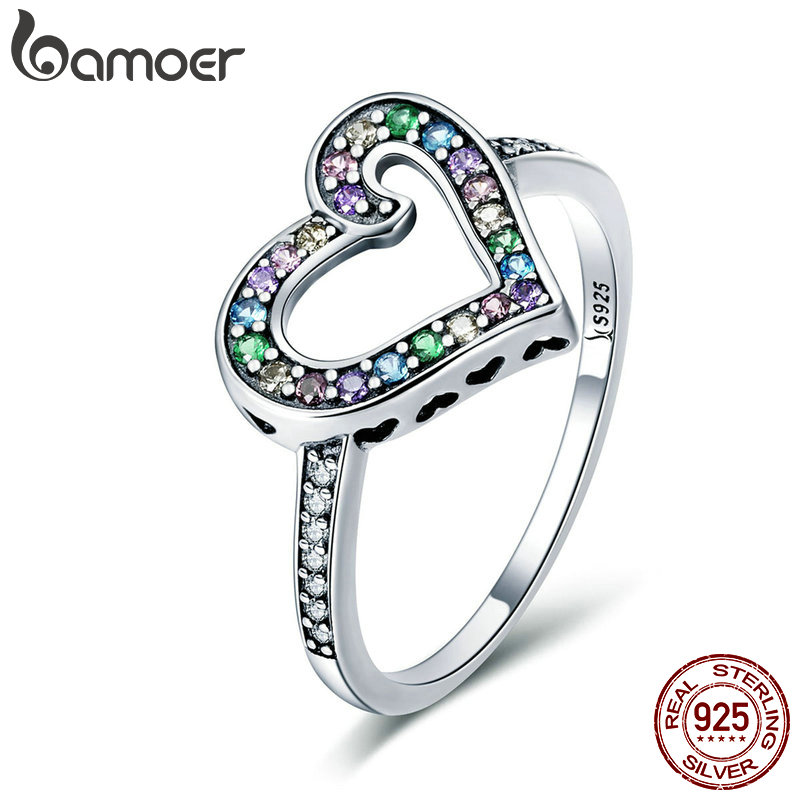 BAMOER Authentic 925 Sterling Silver Rainbow Love Heart Rainbow Crystal CZ Finger Ring for Women Sterling Silver Jewelry SCR413 25 style 925 sterling silver ring charm princess crown flower heart silver charms finger ring for women jewelry