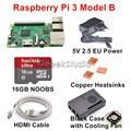 2016 Оригинал Raspberry Pi 3 Модель B Starter Kit с 16 ГБ SD НУБОВ + 5 В 2.5A ЕС/ВЕЛИКОБРИТАНИЯ/AU/США Питания + Медных Радиаторов