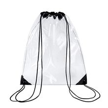 New Transparent Drawstring Backpack Cinch Sack School Tote Gym Bag Sport Pack PVC Bag цена