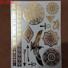 1PC Flash Metallic Waterproof Tattoo Gold Silver Women Henna Flower Bracelet Wing Angle Temporary Tattoo Sticker Paster