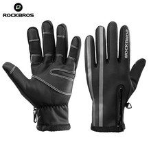 ROCKBROS mens fleece cycling gloves touch screen waterproof ski snowboard mtb bike riding windproof motorcycle mittens