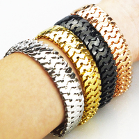 4 Color Promotion New Deisgn Snakeskin Bracelet High Quality Chain Link Real Gold Plated Silver Cuban