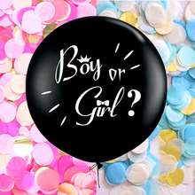 36 inch Black Round Confetti Latex Balloon Boy or Girl Gender Reveal Party Balloon Giant balloon with pink blue gold confetti