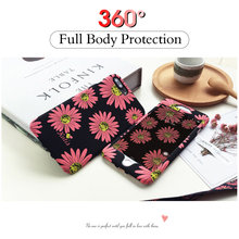 For iPhone 6 6s Plus Case 360 Degree Full Body Flower Phone Housing For iPhone 7 8 Plus Shockproof Matte Floral Back Cover Capa(China)