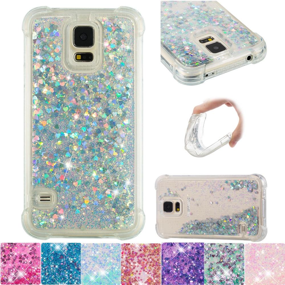 Glitter Cover for Samsung Galaxy S5 DS S 5 Neo Cute Bling Liquid Soft Case SM-G900F SM-G900H SM-G900FD SM-G903F Silicone Bumper(China)