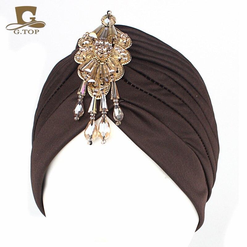Novo luxo divas turbante cabeça envoltório chapéu com contas pingente feminino headwear