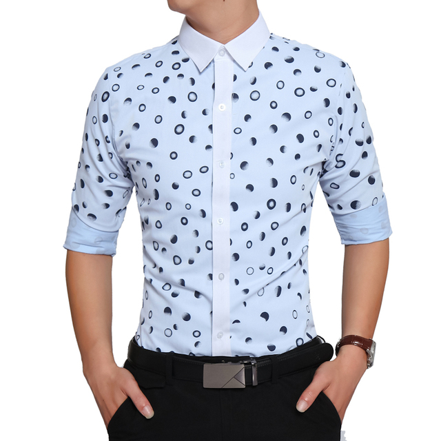 Brand 2017 Fashion Male Shirt Long-Sleeves High Quality Cotton Polka Dot Casual Shirt Mens Dress Shirts Slim Men Shirt XXL