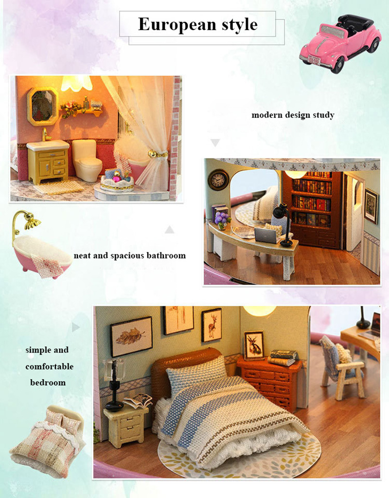 DIY Dollhouse Rotate Music Box Miniature Assemble Kits Doll House With Furnitures Wooden House Toys for Children Birthday Gift (17)