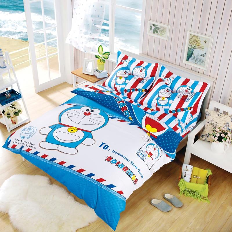 popular japan doraemon boys bedding set duvet cover bed sheet pillow cases 3 4pcs queen full