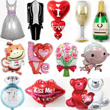 New Bride and Groom Balloons Love Ballons For Wedding Favor Party Supplies Decoration Champagne Baloon gift Globos boda heart