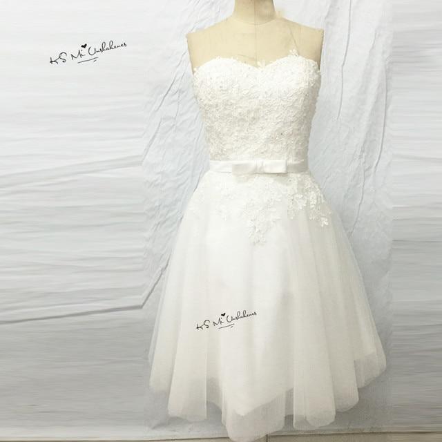 Ivory Vintage Above Knee Wedding Dress Short Lace Bridal Dresses ...