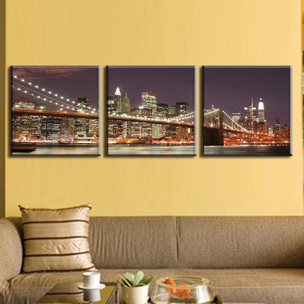 3 Pcs/Set Classic Night Brooklyn Bridge Landscape Canvas Print ...
