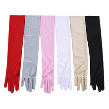 Women's Mittens Long Gloves Autumn Winter Fashion Solid Colors Female Satin Opera Evening Party Prom Costume Glove