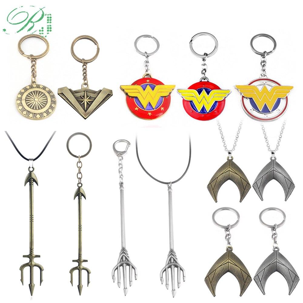 RJ 20Pcs Justice League Keychains Aquaman Arthur Trident Keyring Diana Mera Wonder Woman Thor Batman Choker Film Jewelry Gift handbag