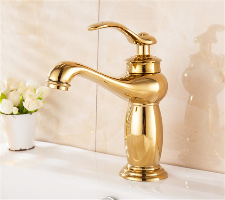 цена на Fashion health hot gold basin faucet European hot and cold mixed bathroom full copper rose gold antique wash basin faucet