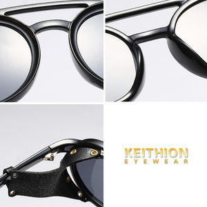 Image 5 - KEITHION Men Steampunk Goggles Sunglasses Women Retro Shades Fashion Leather With Side Shields Style Round Sun glasses