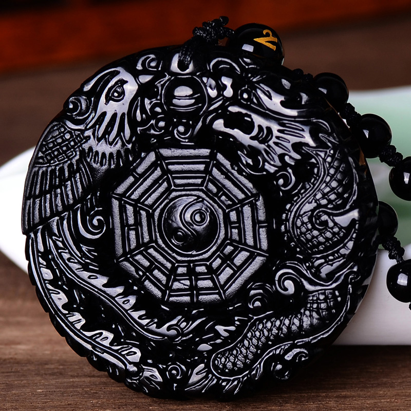 Women Gift word Love real Natural Black Obsidian Hand Carved Chinese Dragon Phoenix BaGua Lucky Amulet Pendant Necklace Fah