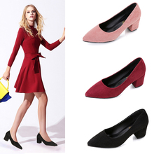 Red Women Shoes Suede Square High Heels 2019 Spring New Pointed Shallow Mouth Womens Shoes Woman Wedding Shoes Zapatos De Mujer недорго, оригинальная цена