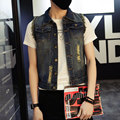 new spring and autumn of 2016 men's fashion trend of the Korean the all-match velvet casual sleeveless denim vest jacket