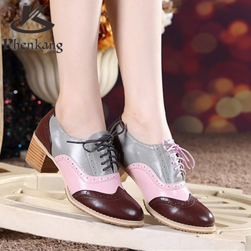 ФОТО 2017 Bullock new spring singles shoes thick heel genuine leather lace deep mouth retro British style oxford shoes for women fur