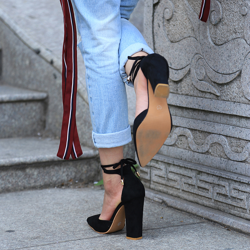 877a86fea29 6 Colors Pointed Strappy Pumps Sexy Retro High Thick Heels – catcas