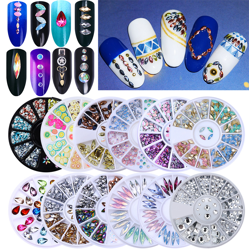 BORN PRETTY Mixed Decoration in Wheel Stone Nail Rhinestone Studs Irregular Beads For Gel Polish 3D Nail Decoration Accessories