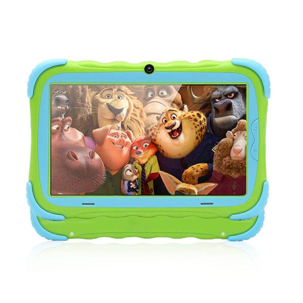 7 pouces enfants tablette PC Android7.0 Quad Core 1 GB/8 GB Wi-Fi tablette bébé jeux conçus pour les enfants avec couverture en caoutchouc résistant aux enfants