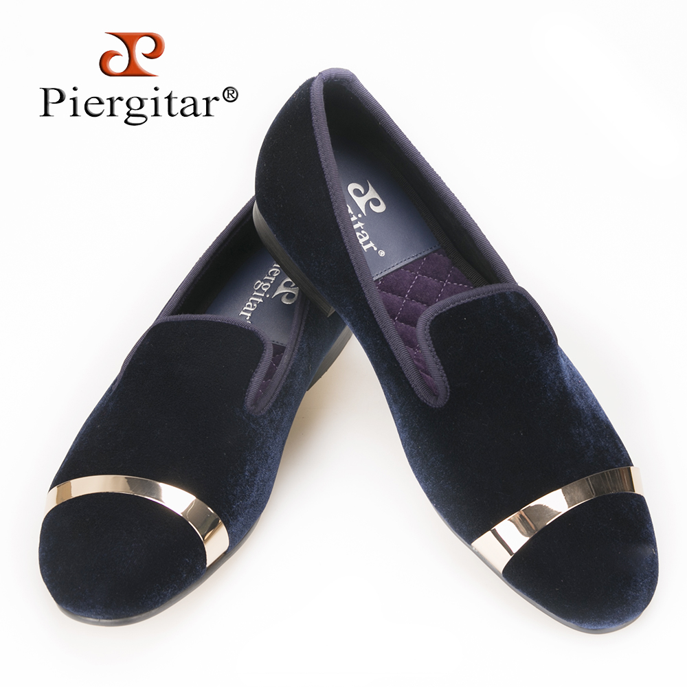 Piergitar new style Handmade men navy velvet shoes with gold metal on shoes toe fashion party wedding and banquet male loafers new style fashion men loafers gold embroidery handmade men velvet shoes party and wedding men s flat size us 6 14 freeshipping