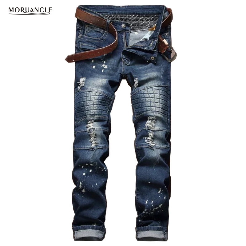 2017 Fashion Mens Biker Jeans Trousers Brand Designer Ripped Denim Pants For Man Washed Straight Distressed Jean Joggers E0031 fashion brand designer mens torn jeans pants hi street ripped denim joggers gray distressed jean trousers man streetwear lq076