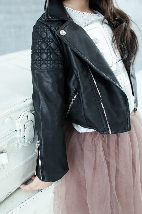 Spring Fashion Kids Leather Jacket