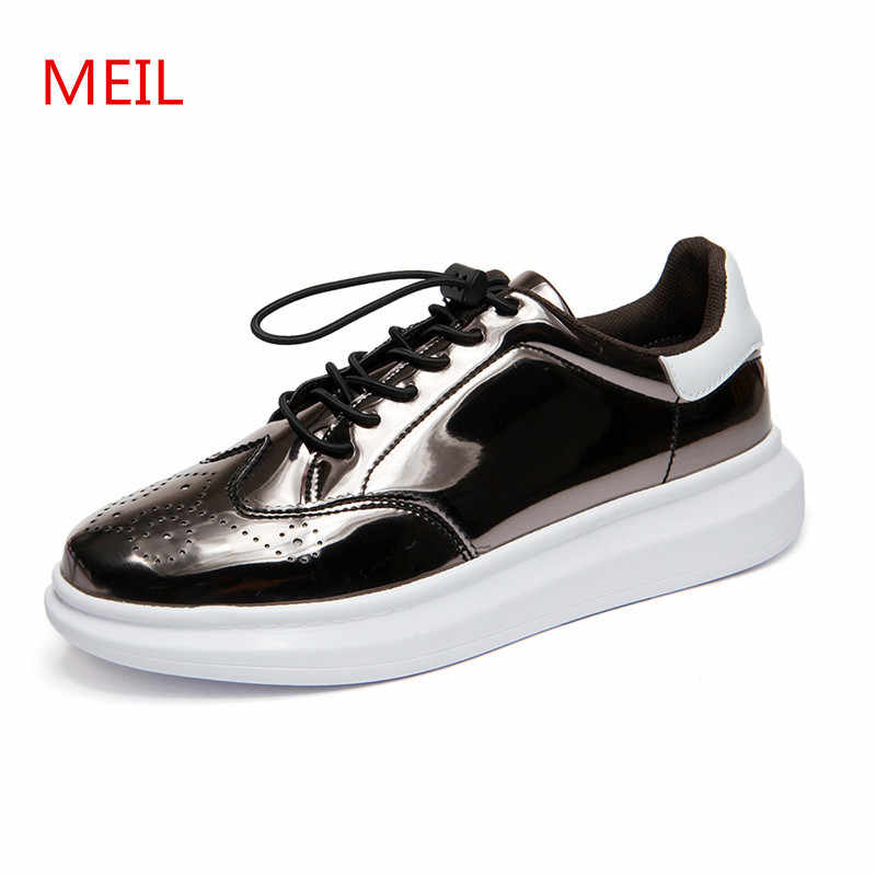 6bf33255a516 MEIL lovers shoes Designer Version Luxury Brand Casual Shoes Men sneakers  Patent Leather Shoes Men Flats