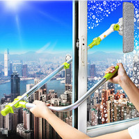 Glass Window Cleaning Tool Retractable Pole Clean Window Device Dust Brush Washing Double Faced Glass Scraper