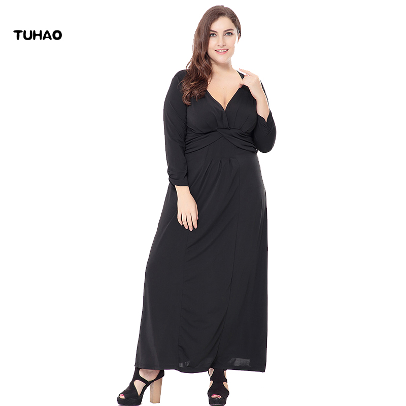 TUHAO Knitted Long Dress Woman Maxi V Neck Dresses Autumn Plus Size Solid Color Vintage 5XL 6XL Femme Long Sleeve Vestidos SQ14 plus size double pockets knitted dress