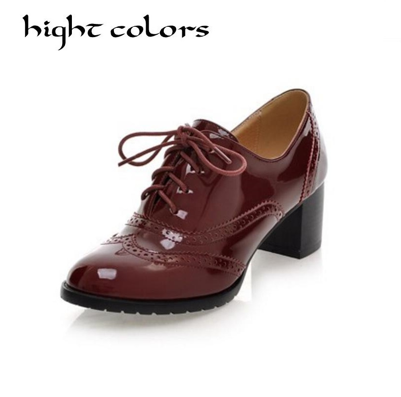 New Fashion Vintage Japanned Leather High Heels Oxford Shoes For Women Plus Size 34-43 Thick Heel Pumps Female Casual Shoes skullies beanies the new russian leather thick warm casual fashion female grass hat 93022