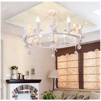 DBF Modern Art LED Pendant LED Lamps Living Room Resin 3 6 Angel Chandeliers Crystal
