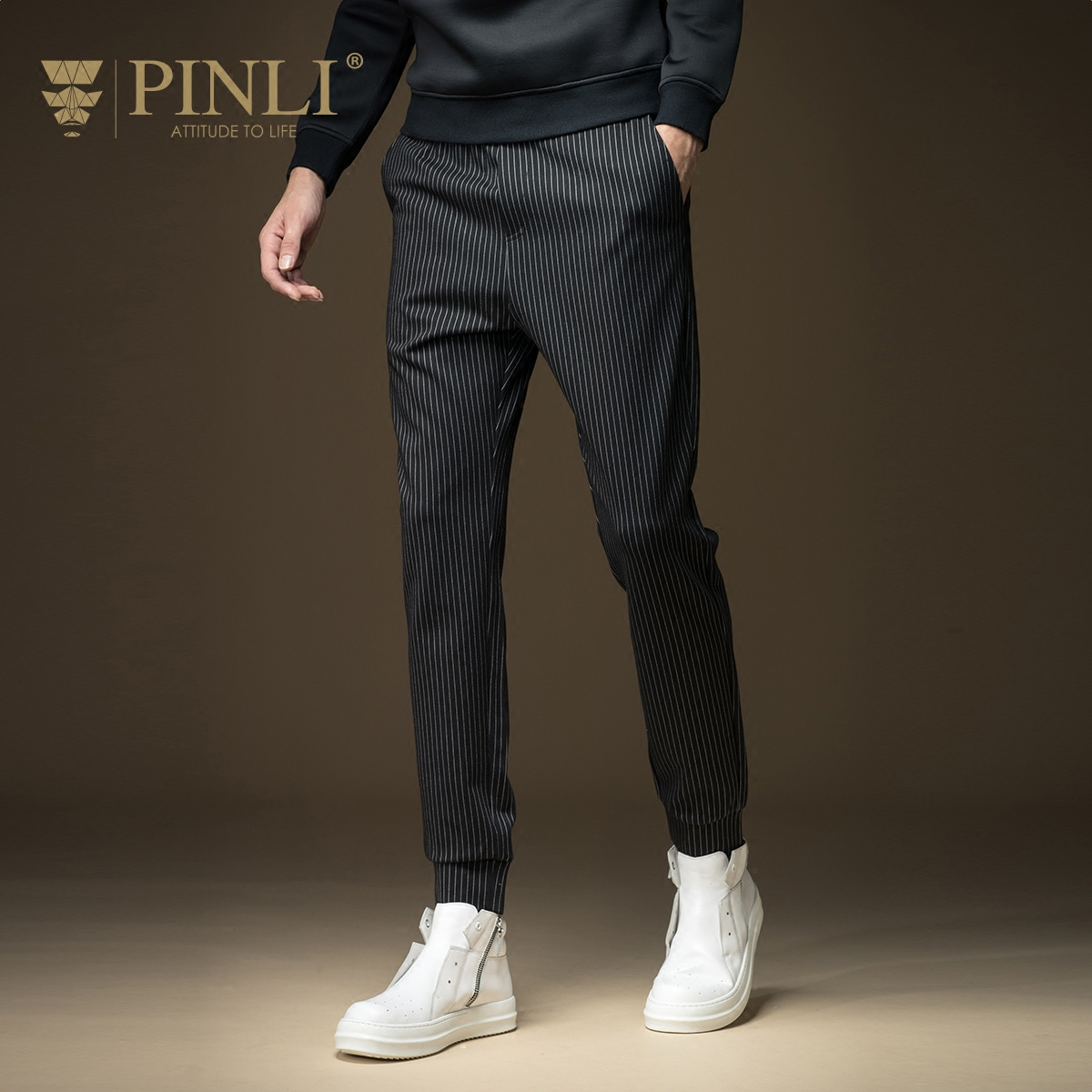 Pinli New Arrival Sale Loose Bamboo Fiber Mid 2016 Winter Men's Casual Pants Striped Trousers Feet Upon The B16315811