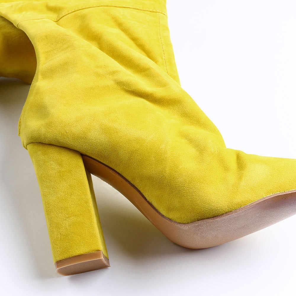 Seksi Rihanna kasık uyluk yüksek çizmeler kemer ile sivri burun yüksek topuklu kadınlar diz çizmeler üzerinde rahat kadın ayakkabı uzun çizmeler