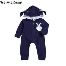 Waiwaibear Newborn Baby Boys Girls Rompers Baby Cotton Zipper Rompers Kids Children Rabbit Ear Jumpsuit Baby Clothes LX6 jumpsuit lucky child for girls and boys 29 13d children s clothes kids rompers for baby