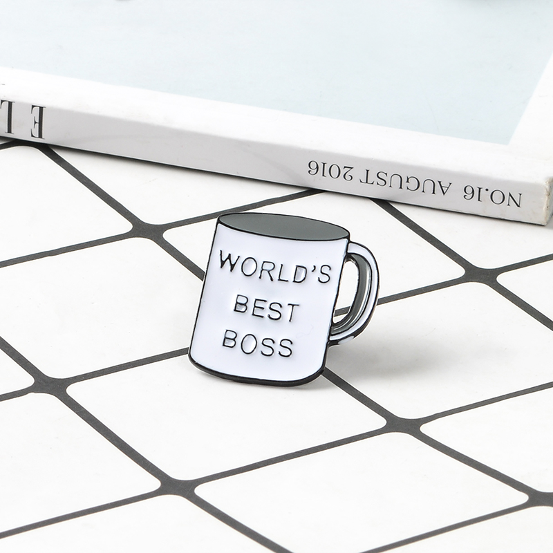 US $0 97 40% OFF|World's best boss Mug Brooch Office Coffee Cup Enamel Pin  Daily Supplies Pins Badge For Women Men Boss Gift Lapel Pin Jewelry-in
