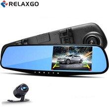 Best Buy Relaxgo 4.3″ Car Camera Full HD 1080P Rearview Mirror Car DVR Dual Lens Video Recorder Parking Night Vision Auto Registrator