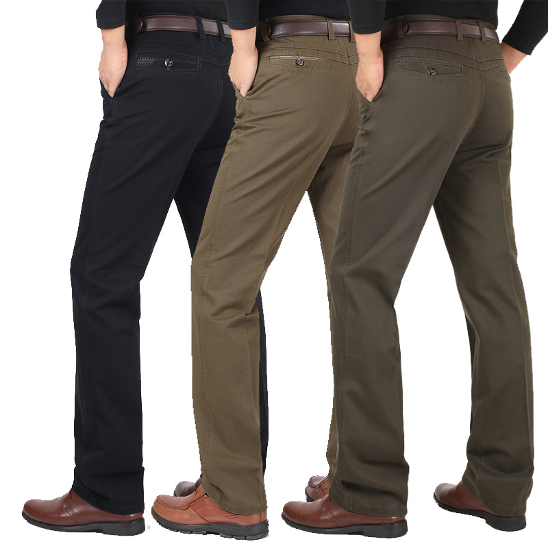 28-40 Autumn and winter pants men business casual pants loose middle-aged straight pants thicken thin Anti-wrinkle trousers