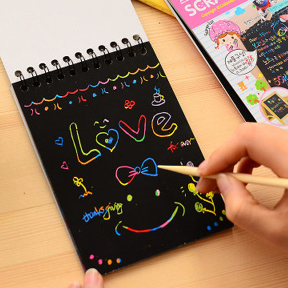 Wonderful Color Scratch Note Black Cardboard Creative School DIY Draw Sketch Notes For Kids Toy Notebook Drawing Educational Toy