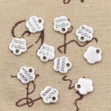 50pcs Charms hand made 8*8mm Hollow Antique charms,Zinc alloy pendant fit,Vintage Tibetan Silver,DIY for bracelet necklace